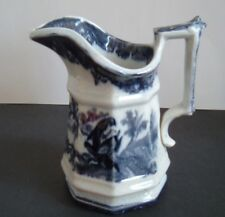 Black Transferware Milk Pitcher Creamer ~ Birds ~ Ironstone ~ Staffordshire
