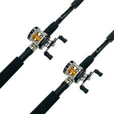EatMyTackle 8 ft. Sabiki Bait Fishing Rod & Baitcaster Reel Combo - 2 Pack