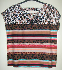 BNWT Bon Marche Linen Blend Ladies Top - Multi-coloured / stripes - Size 12