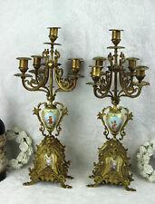 Antique French Candelabras candle holders porcelain plaques portraits