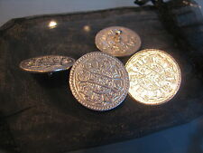 Four eastern arabic large silver coins made into silver buttons
