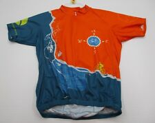 Jacson Wellness #T7275 Men's Size M Cycling 3/4 Zip Orange/Blue Jersey