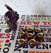 Ancien Service à Alcool Céramique de Vallauris Pichet Grappe de raisin tasse
