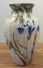 """Vintage Signed Japanese vase insects/flowers butterfly iris 9.5"""""""
