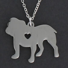 Bulldog With Open Heart Necklace - Large Stainless Steel Charm Pendant Pet NEW
