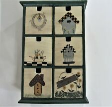 Farmhouse-Style Green Birdhouse-Decorated Wood Cabinet/Trinket Box w/6 Drawers