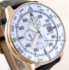 CITIZEN MEN ECO DRIVE CHRONO ROSE GOLD LEATHER DATE 100m CA0693-12A