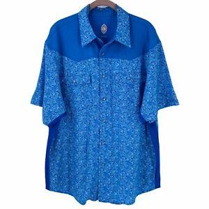 CLUB RIDE Blue Paisley Cycling Shirt Size Large Men's Short Sleeve