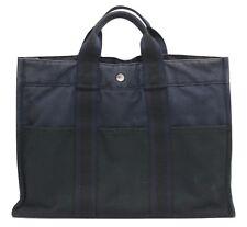 Authentic HERMES Fourre Tout MM Hand Tote Bag Canvas Black/Navy