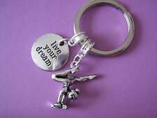 Gymnastique porte-clés gymnaste sur faisceau charme inspirational vivre votre rêve keychain