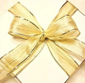 2 Rolls of 38mm High End Hair Thin Metal Flow Thru Double Layers Blonde Organza