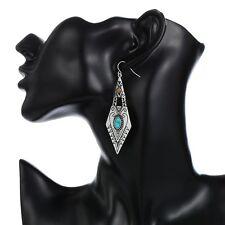 Boucles d'oreille argent vieilli résine pendantes triangles résine rouge ou bleu