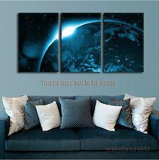 "Modern Outer Space Wall Picture ""Blue Sunrise Over Planet"" Poster PRINT Unframed"