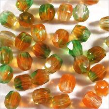 Facettes de Bohème 4mm Vert Orange Lot de 50 perles