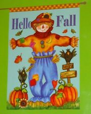 "Scarecrow HELLO FALL Autumn decorative art garden flag NEW!  28"" x 40"""