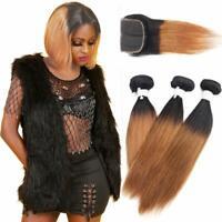 tissage bresilien en lot avec closure cheveux humains Ombre auburn human hair