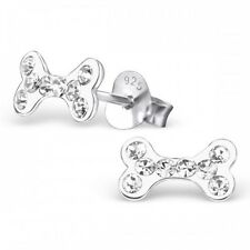 Childrens Sterling Silver Clear Crystal Dog Bone Stud Earrings - Boxed