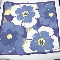 Bill Blass Vintage Blue Purple Floral Chiffon Scarf Head Wrap Pretty MCM