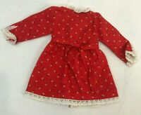 Vintage Doll Dress Cinderella Red Floral White Eyelet Trim Clothes Tagged Outfit