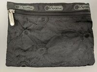 """LeSportSac Zip Makeup Cosmetic Bag Black Floral Flowers Travel Pouch 7.5"""" x 5.5"""""""
