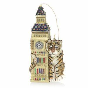 Jay Strongwater Big Ben with Tiger Glass Ornament, Swarovski SDH2278-280 NEW