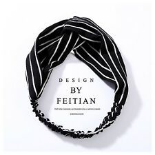 Ladies twist knot pattern headband elastic head wrap turban hair band flower