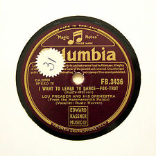 "LOU PREAGER & HIS ORCHESTRA ""I Want To Learn To Dance"" COLUMBIA FB-3436 [78 RPM]"