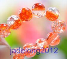 50pcs orange Charm Crystal Crack Glass Round Loose Spacer Beads 6MM