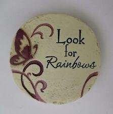 dd Look for rainbows Garden Inspiration mini plaque fairy garden stepping stone