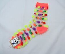 Womens Multi-colored Polka Dot SHEER Fashion Crew Socks size 9-11 Orange Trim