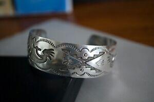Vintage Sterling Silver 925 Navajo Hopi Kokopelli Cuff Bracelet