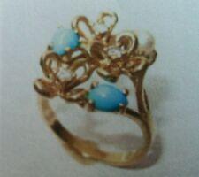 Ladies 18K Freeform Flower Yellow Gold Diamonds Turquoise and Pearl Sz 6 1/4