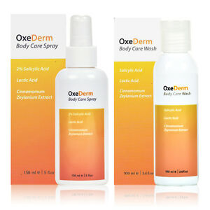 OxeDerm Salicylic Acid 2% Shower Gel + Anti Acne Body Spray Treatment, Spots etc