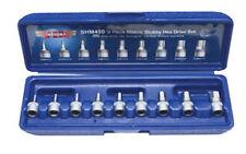 "VIM TOOLS SHM400 - 9 Piece 1/4"" Drive Metric 2mm - 10mm Stubby Hex Bit Set"