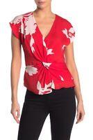Joie Bosko Top XS Red White Silk Floral Print Twist Blouse Women's NWT $248