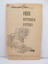 Vintage Free Butterick Pattern Handbag Purse Bag Satchel  1940's - 1950's Tote