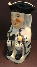 """STAFFORDSHIRE TOBY JUG WITH BLACK WHITE DESIGN EXCELLENT CONDITION 5"""" TALL"""