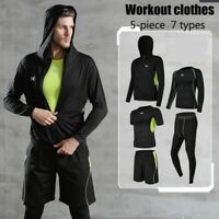 5Pcs/Set Men Compression Quick Dry Sports Running Training Gym Fitness Tracksuit