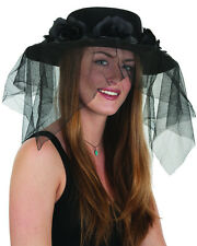Spanish Funeral Mourning Black Flower Band Black Hat And Veil Costume Accessory