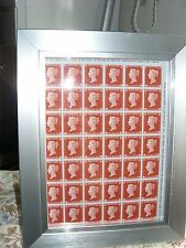 BLOCK OF 1d RED REPRODUCTIONS STAMPS IN A5 BLACK FRAME  REPRINT NICE