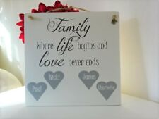 Handmade Wall Plaque Family Tree Hearts Personalised Friend Gift Home Christmas