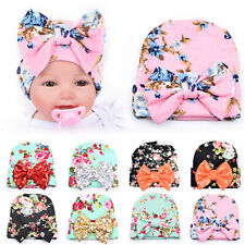 AU_ Newborn Baby Infant Girl Toddler Bowknot Hospital Cap Floral Beanie Hat Surp