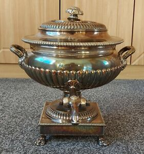 Antique Victorian Silver Plate Crested Samovar