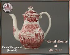 "Kaffeekanne  ""Royal Homes Of Britain"" Enoch Wedgwood england rot teller tasse"