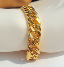 "Miami Cuban Link 11mm Chain Bracelet 24k Gold Plated Hip Hop 9"" Inch Mens Curb"