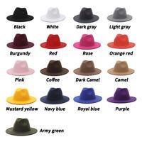 Men Women's Classic Wide Brim Floppy Panama Hat Woolen Fedora Hat