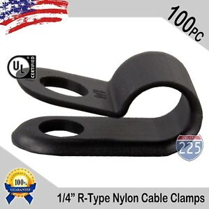 """100 PCS PACK 1/4"""" Inch R-Type CABLE CLAMPS NYLON BLACK HOSE WIRE ELECTRICAL UV"""