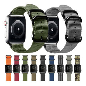Durable Military Woven Nylon Watch Band Strap For Apple Watch 42mm 44mm 40mm 38