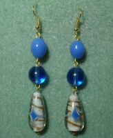 Vintage Retro White Gold Blue Art Glass Bead Tear Drop Pierced Dangle Earrings