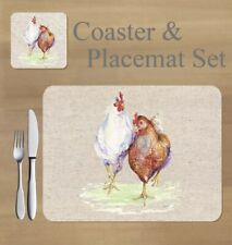 Chickens,   placemat and coaster set    by Jane Bannon